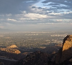 Stoney Point and Los Angeles's San Fernando Valley on a stormy afternoon.